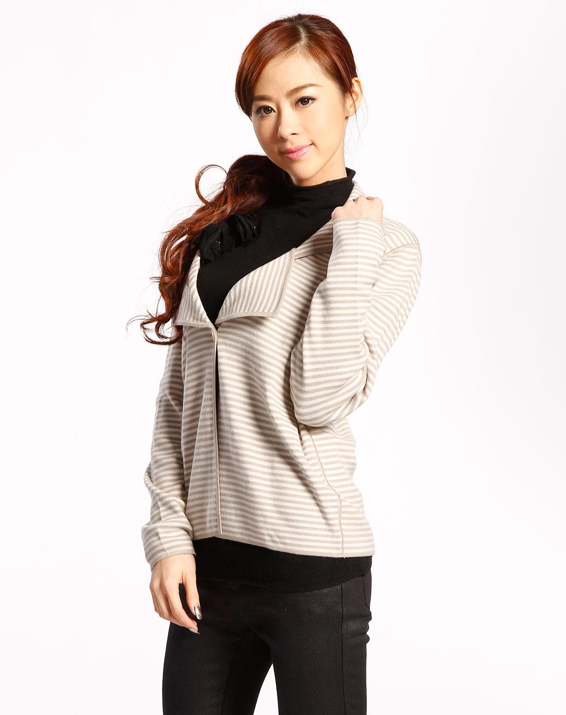 女款米色条纹针织开衫