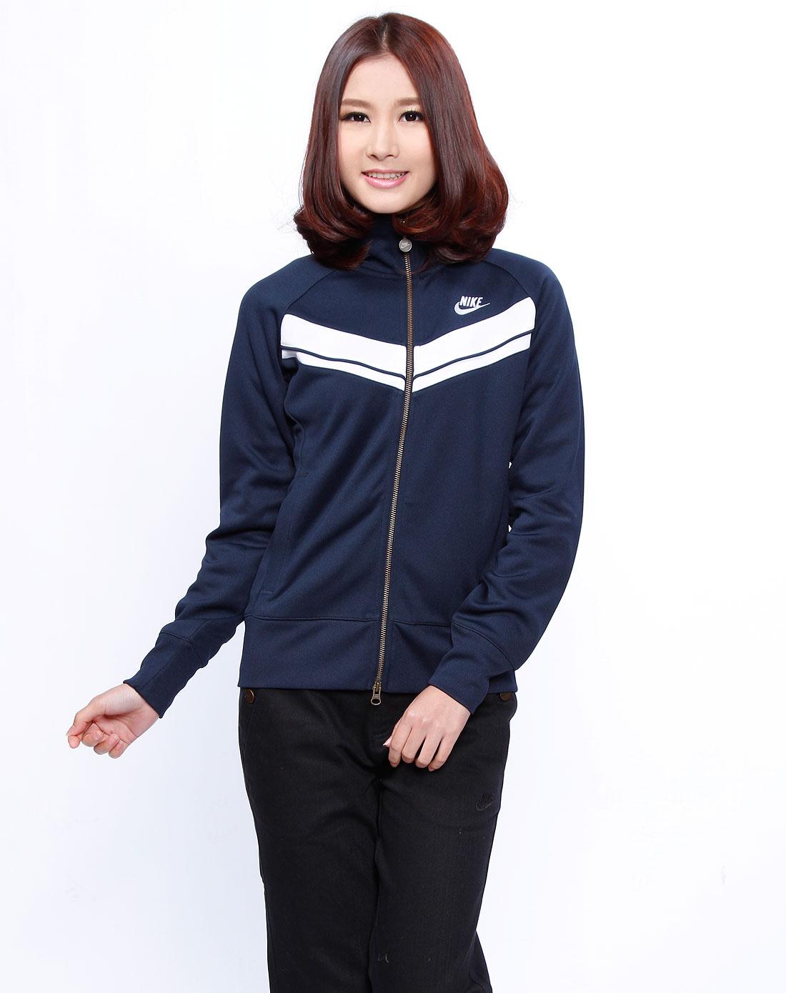 女款深蓝/白色运动长袖外套