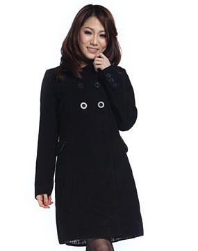 女款黑色长外套5665600200