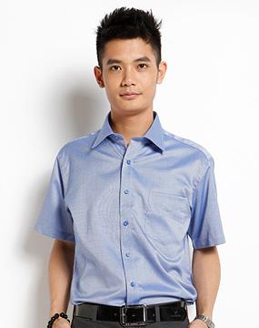 色席纹休闲短袖衬衫