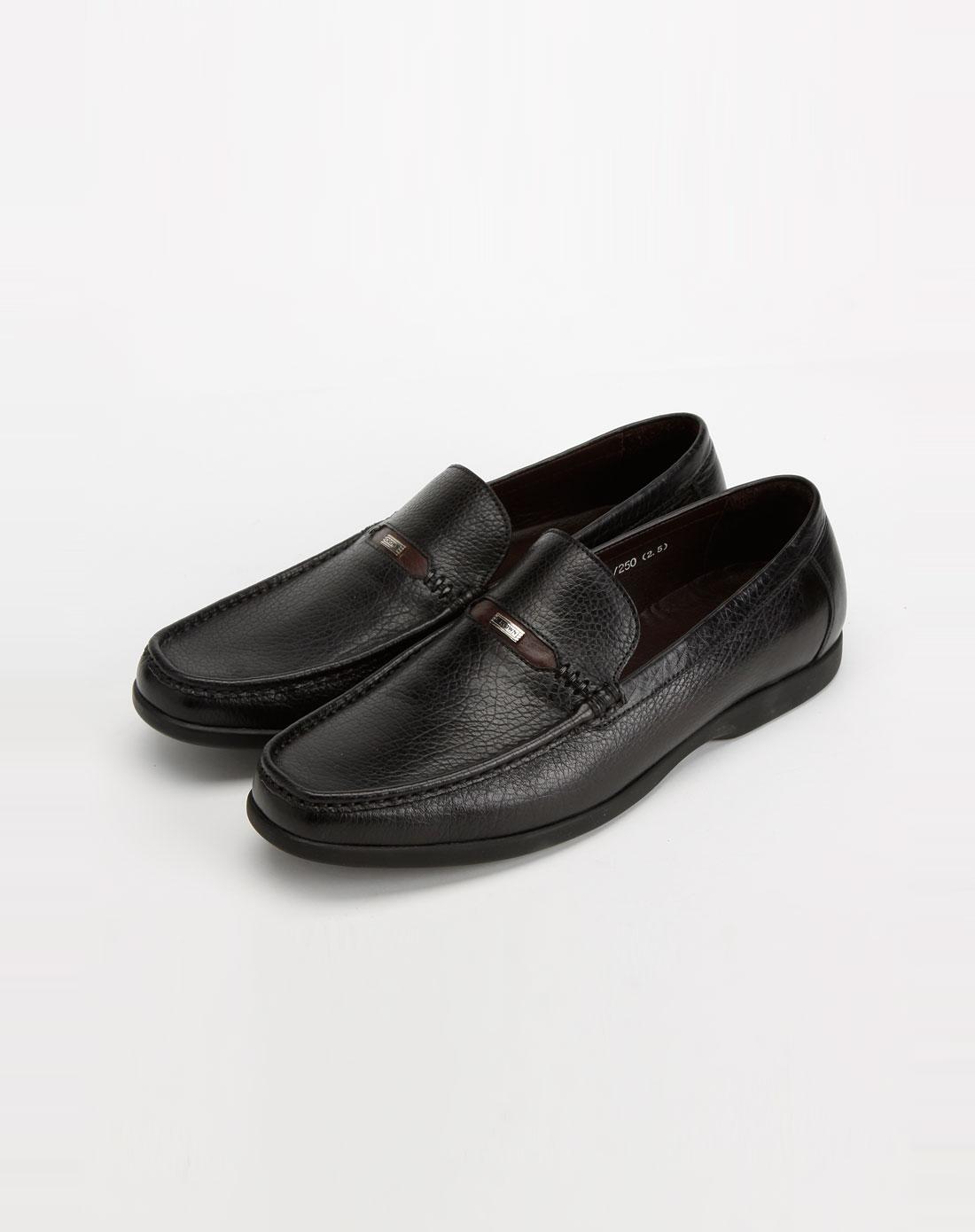 黑色商务休闲皮鞋_皇冠crown-男鞋官网特价2-2
