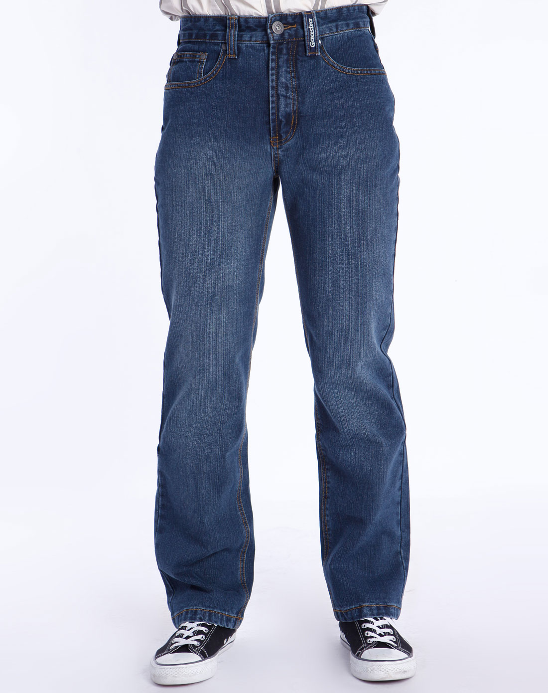 男款深蓝色休闲牛仔长裤