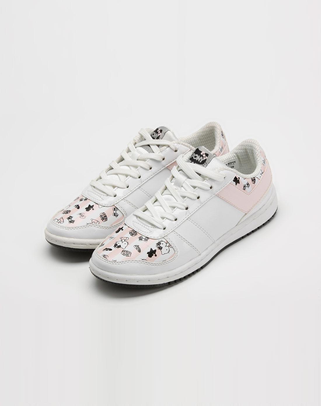 女款白/粉色凯蒂猫印图休闲鞋