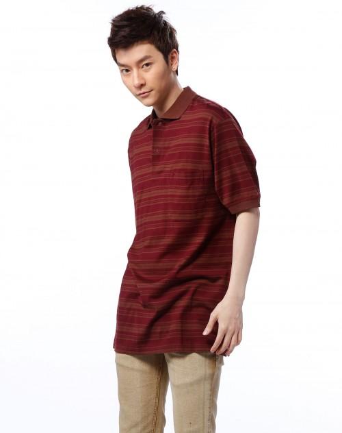男款酒红色条纹短袖t恤