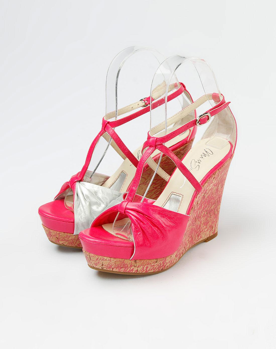 桃红/银灰色坡跟凉鞋_60年代小姐miss