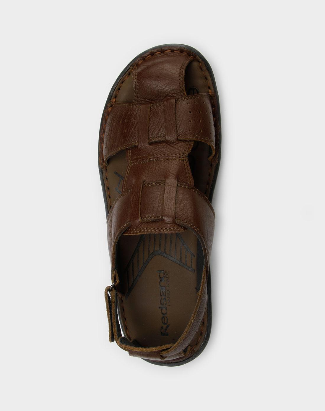 棕色牛皮凉鞋_红砂男鞋专场特价1