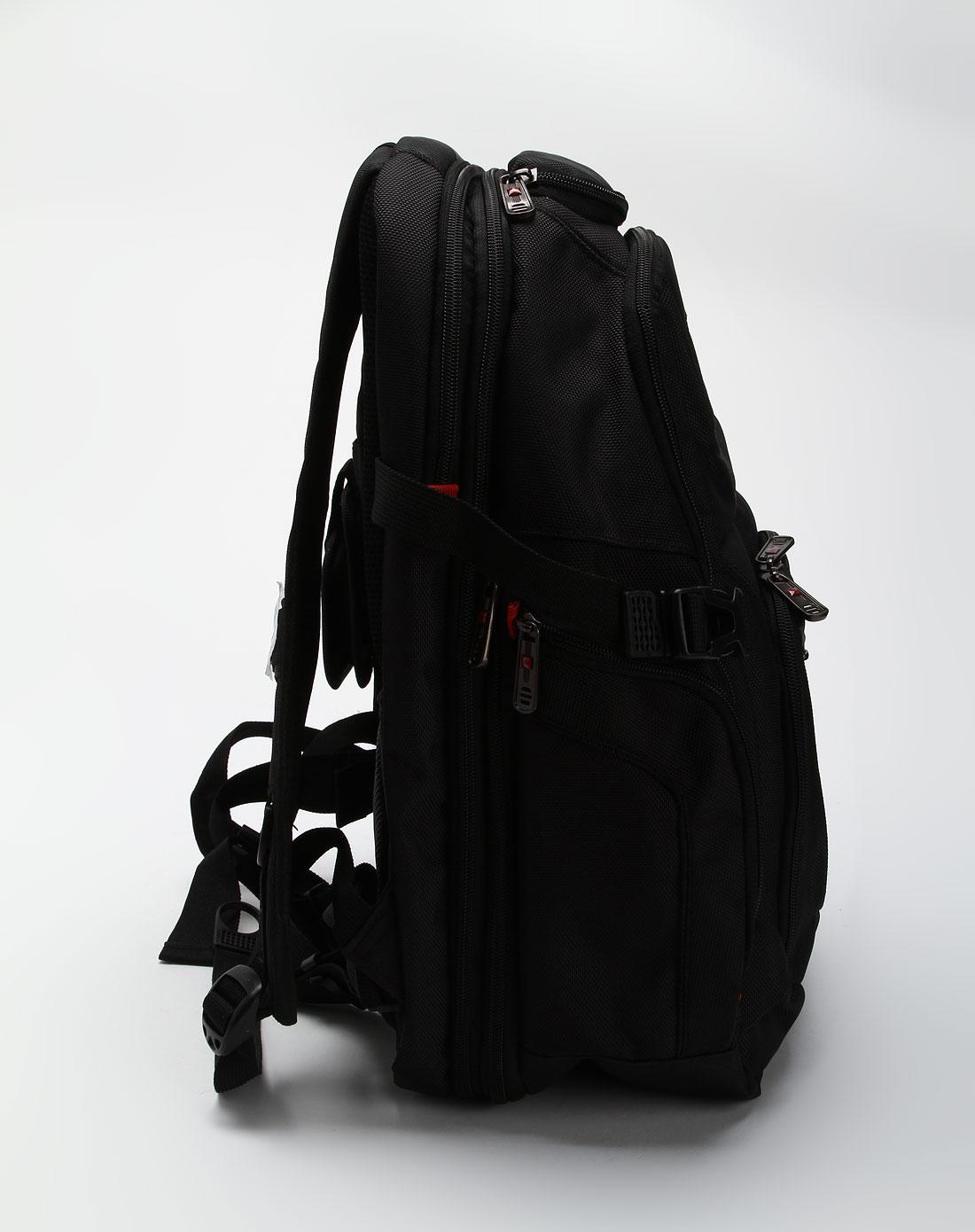 中性黑色多袋双肩电脑背包