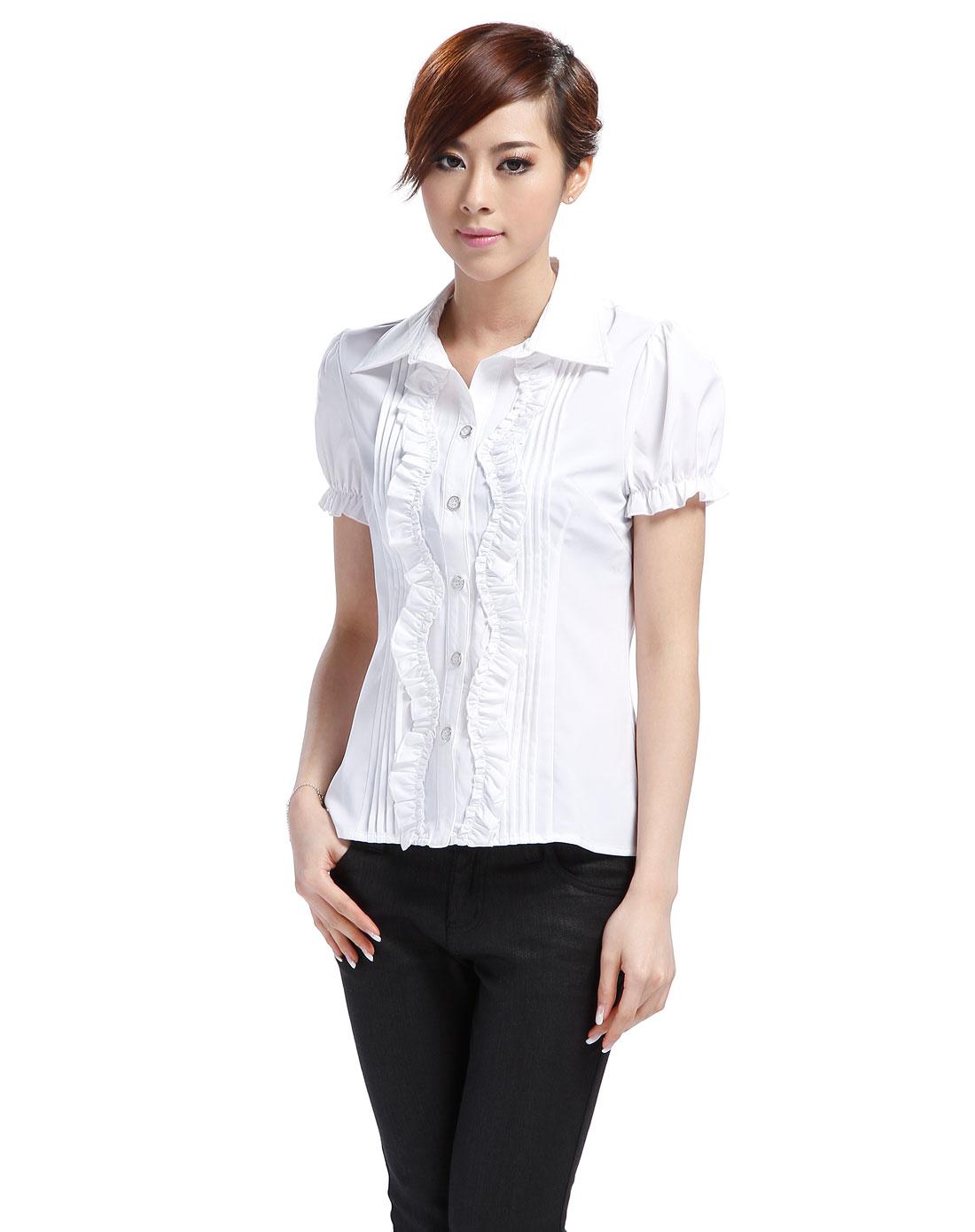白色短袖衬衫_艾金诺uss