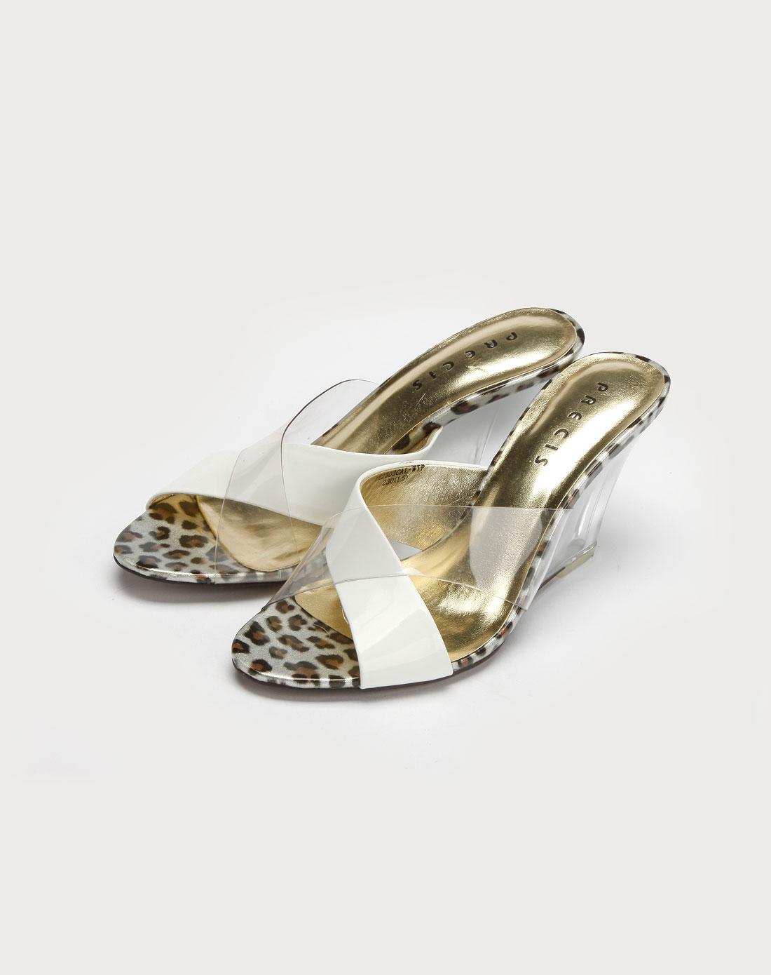 透明白色豹纹坡跟凉鞋