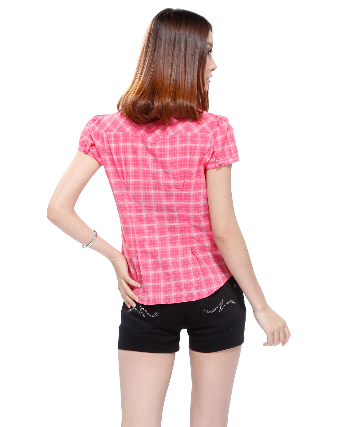 桃红色格纹短袖衬衫_美特斯邦威女装官网特价2