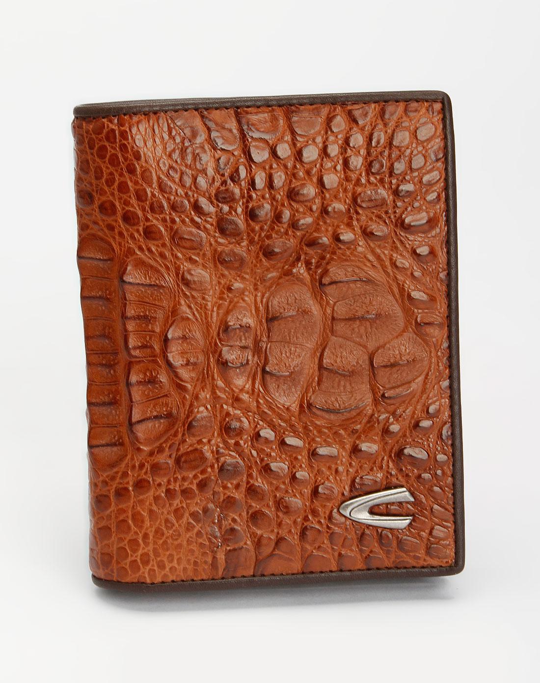 男款棕色鳄鱼纹竖式钱包