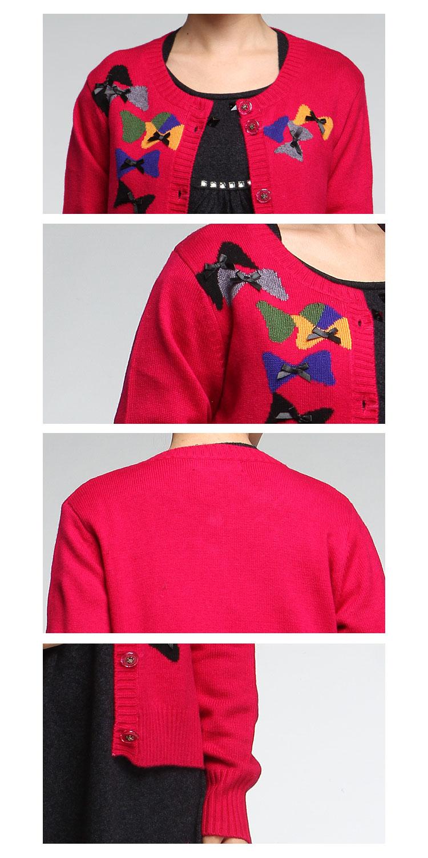 昊意玫红色蝴蝶结织花长袖针织衫8e031220