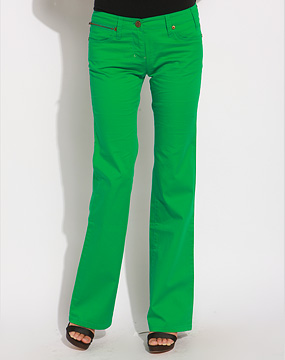 欧时力ochirly女款绿色贴袋微叭长裤